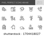 food delivery vector line icons....   Shutterstock .eps vector #1704418027