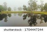 dji mavic pro 2 still image, foggy morning in the Australian bush with reflection in a small water hole