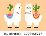 cute llama animal character... | Shutterstock .eps vector #1704465217