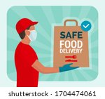 safe food delivery at home... | Shutterstock .eps vector #1704474061