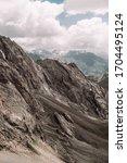 Tajikistan. Fann mountains Summer. The relief of gray mountains