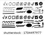marker check box. hand drawn... | Shutterstock .eps vector #1704497977