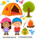 happy children in a camping...   Shutterstock .eps vector #1704501934