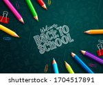 back to school colored pencils... | Shutterstock .eps vector #1704517891
