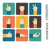 Hands Icons Set  Flat Design...
