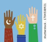 hands with judaism ...   Shutterstock .eps vector #1704538921