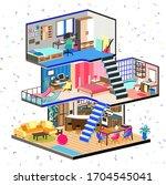 cartoon family house in cut.... | Shutterstock .eps vector #1704545041