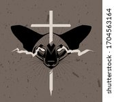 occult cat's head with burning... | Shutterstock .eps vector #1704563164