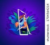 online shopping on smart phone  ... | Shutterstock .eps vector #1704564214