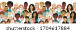 decorative diverse women's men... | Shutterstock .eps vector #1704617884