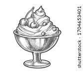 ice cream in sundae dish bowl ... | Shutterstock .eps vector #1704653401