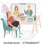 a girl sitting on a chair ...   Shutterstock .eps vector #1704686647