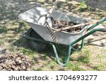 a metal wheelbarrow for a... | Shutterstock . vector #1704693277