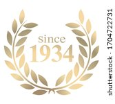 3D illustration since year 1934 gold laurel wreath vector isolated on a white background