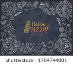 italian pizza and ingredients... | Shutterstock .eps vector #1704744001