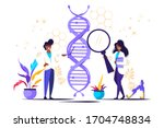 genetic dna science . showing... | Shutterstock .eps vector #1704748834