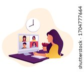 video conference illustration... | Shutterstock .eps vector #1704777664