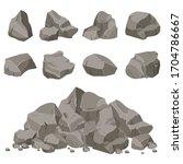 rock stone set cartoon. stones... | Shutterstock .eps vector #1704786667
