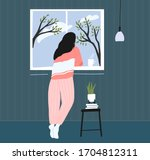 young woman at home longing at... | Shutterstock .eps vector #1704812311