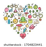fitness icons background  ... | Shutterstock .eps vector #1704823441
