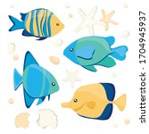 seamless pattern with fish and... | Shutterstock .eps vector #1704945937