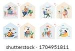 couples with smartphones ... | Shutterstock .eps vector #1704951811