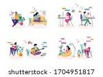 couples with smartphones ... | Shutterstock .eps vector #1704951817