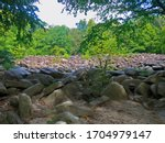 The Sonorous Stones of Ringing Rocks Park, near Falls Creek Waterfall in Bucks County, Pennsylvania.