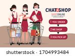 online shopping on smartphone... | Shutterstock .eps vector #1704993484