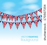 Uk Bunting On A Sky Background