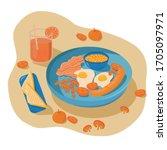 english breakfast illustration...   Shutterstock .eps vector #1705097971