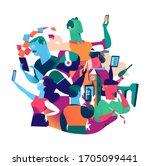 people with phones.... | Shutterstock .eps vector #1705099441