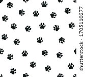 Paws Of A Dog Traces. Vector...