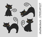 set of various black cat... | Shutterstock .eps vector #1705149127