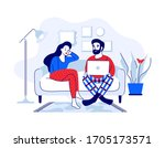 young man and woman sitting on... | Shutterstock .eps vector #1705173571