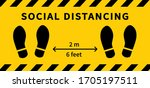 social distancing. footprint... | Shutterstock .eps vector #1705197511
