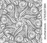 black and white abstract floral ...   Shutterstock .eps vector #1705207384