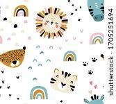 rainbow africa. seamless... | Shutterstock .eps vector #1705251694