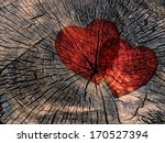 Two Red Paper Hearts On A...