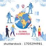 global e commerce during... | Shutterstock .eps vector #1705294981
