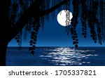 Tree Against Full Moon During...