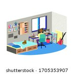 young man studying at home....   Shutterstock .eps vector #1705353907