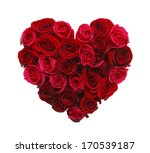 Stock photo valentines day heart made of red roses isolated on white background 170539187