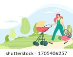 woman walking with stroller and ...   Shutterstock .eps vector #1705406257