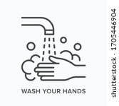 hand wahing line icon. vector...   Shutterstock .eps vector #1705446904