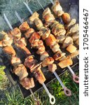 meat  on the hot charcoal  bbq... | Shutterstock . vector #1705466467