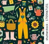 gardener and farmer seamless... | Shutterstock .eps vector #1705467151