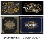 set of 4 vintage logos. vector... | Shutterstock .eps vector #1705480474