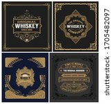 set of 4 vintage labels. vector ... | Shutterstock .eps vector #1705482097