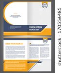Vector empty brochure template design with orange and dark blue elements - stock vector